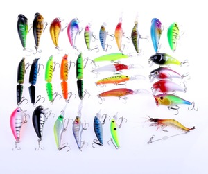 Mixed hard popper jointed minnow soft shrimp lure bait lure set 30Pieces
