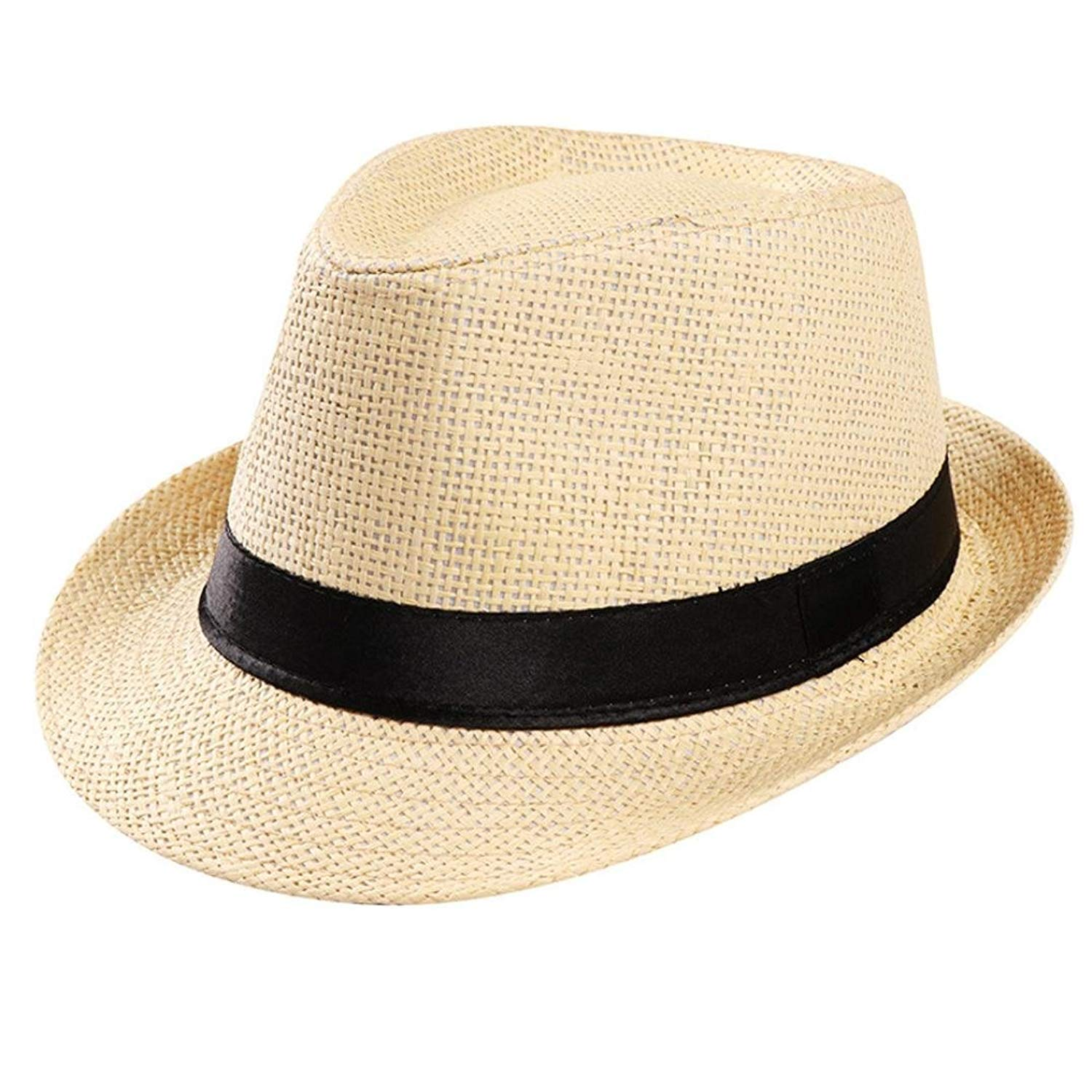 Get Quotations · Summer Crushable   Packable Straw Fedora Hat f7f58b4129aa