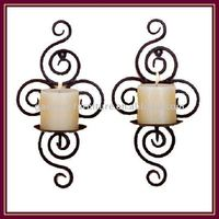 chinese Wall Candle Holders 2/S wrought iron church tea light