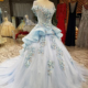 LS5580 cap sleeve light blue embroidered alibaba express engagement evening dresses