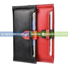 Portable universal smart phone wallet style leather case