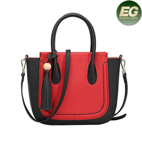 Trendy fashion mix color handbag factory direct sale lady leather satchel with tassel EMG4864