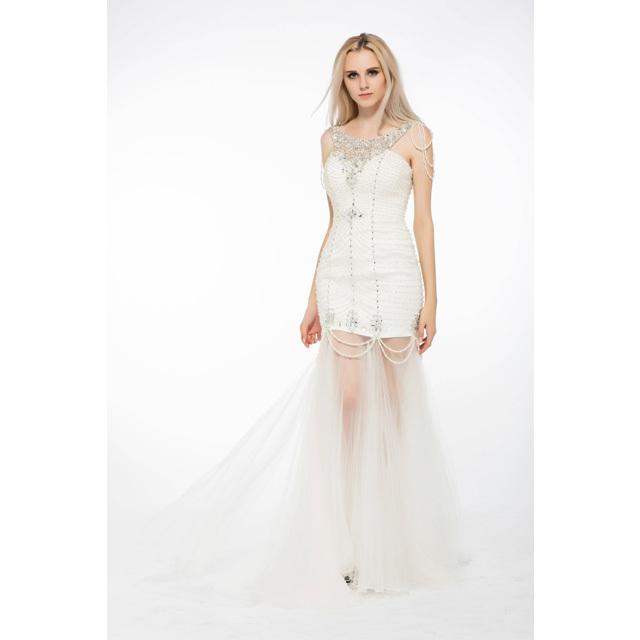 Bulk Beaded Strapless Empire Waist Low Back Wedding Dress Pattern