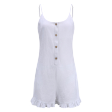 Frauen Weiß Volant Spaghetti Strap Taste Short <span class=keywords><strong>Overall</strong></span> <span class=keywords><strong>Overall</strong></span>