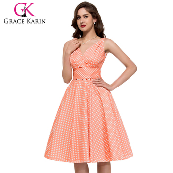 Grace Karin Deep V Neck Cotton Polka Dots Short Plus Size Retro Vintage Dress Cl6295 4 Buy Plus Size Vintage Dresspolka Dots Vintage Dressplus