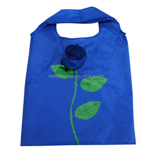 Integrated rose flower pouch design promotional polyester tote shopping bag