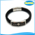 private label customized engrave magnetic logo stainless steel mens leather cuff bracelet