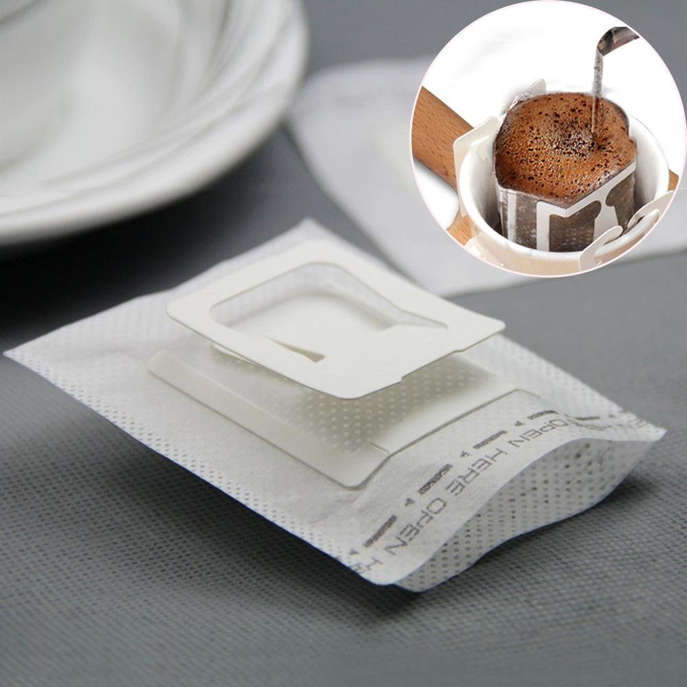 Aolvo Drip Coffee Filters, Single Serve Hanging Ear Coffee Tea Paper Drip Filter Bags, Portable and Fit for Most Cups or Mugs, Disposable Use Suitable for Home, Office, Travel - White - 50 Pieces