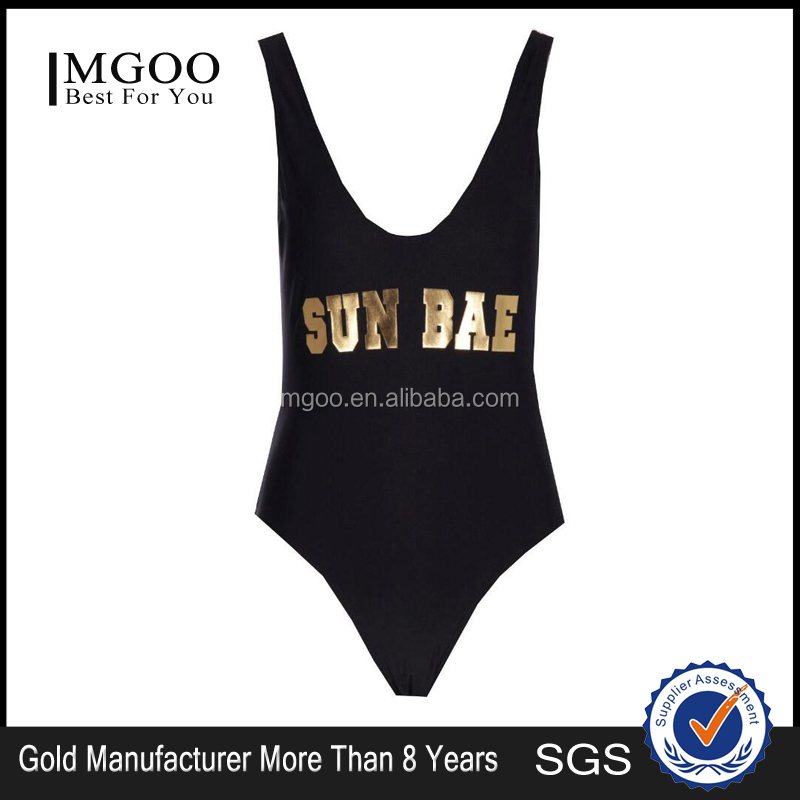 MGOO Your Own Design Plain Basic One Piece Swimsuit With Gold Logo Print Deep V Neck Sexy Bathing Suit Bulk Price