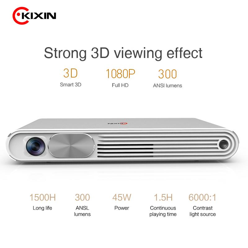 Kixin K2 3d mini projector 1080p with ansi 300 lumens high resolution фото