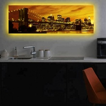 Led muur foto schilderij canvas met led <span class=keywords><strong>Brooklyn</strong></span> Bridge city night kunst licht up decor kunstwerk gedrukt frame woonkamer