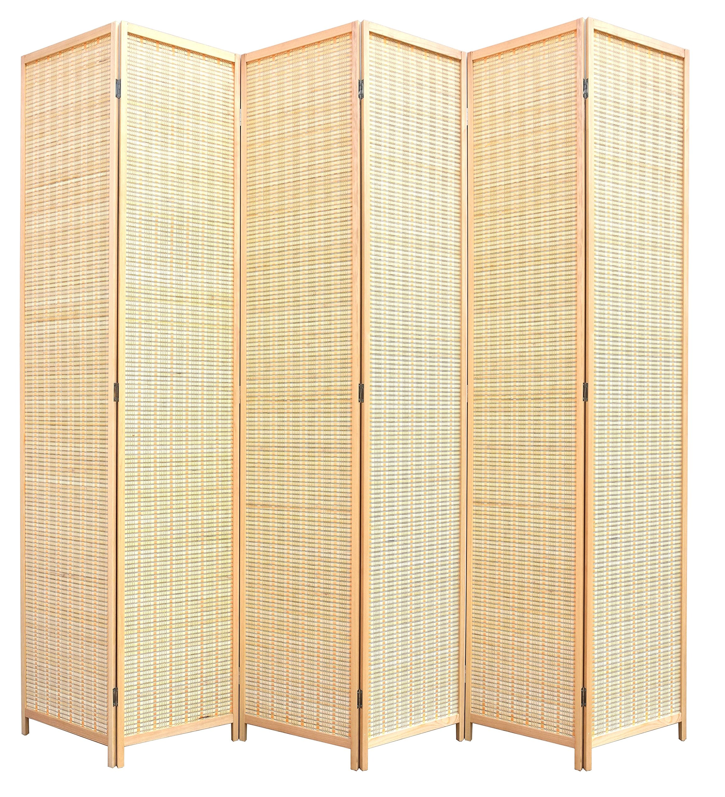 RHF 6 ft. Tal -Extra Wide-Beige Woven Bamboo&6 panel room divider/screen,room dividers and folding privacy screens 6 panel&Room dividers and folding privacy screens-Beige Bamboo 6 Panels