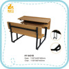 HY-0431B modern cheap wooden student double desk and chair