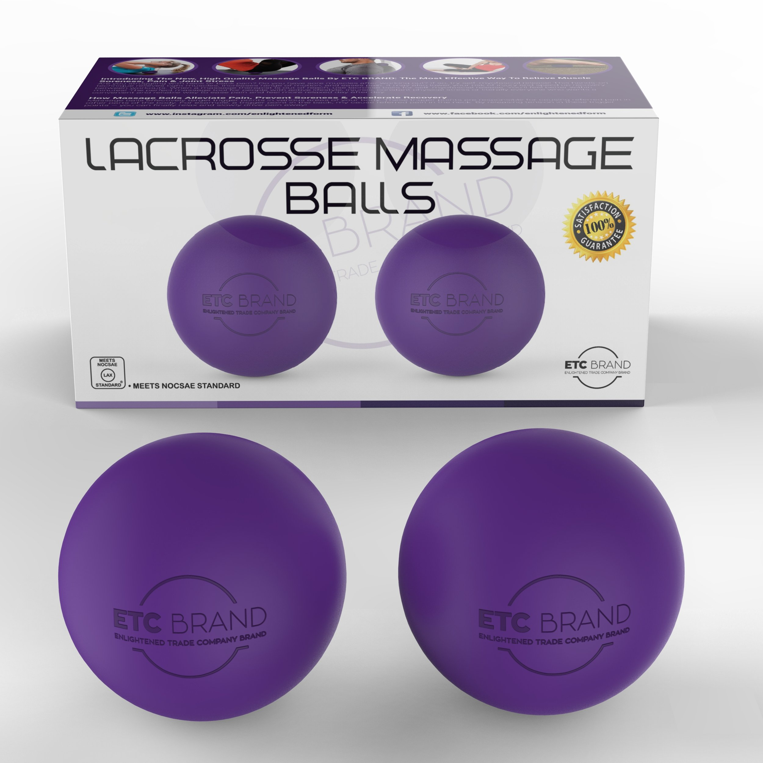 Lacrosse Massage Balls for Best Neck, Shoulders, Back, Foot Massage; Pain Relief, Trigger Point Release, Plantar fasciitis, Deep Tissue Therapy Yoga Roller Balls with Free Exercise Guide & Travel Bag