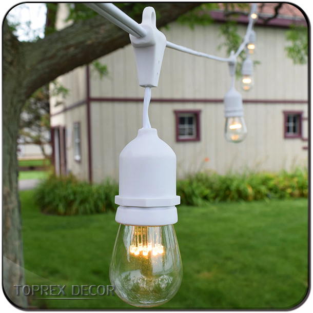 33 Feet Outdoor Weatherproof Commercial LED String Light E27 S14 Bulb Garden Patio Backyard Rope Lgihts