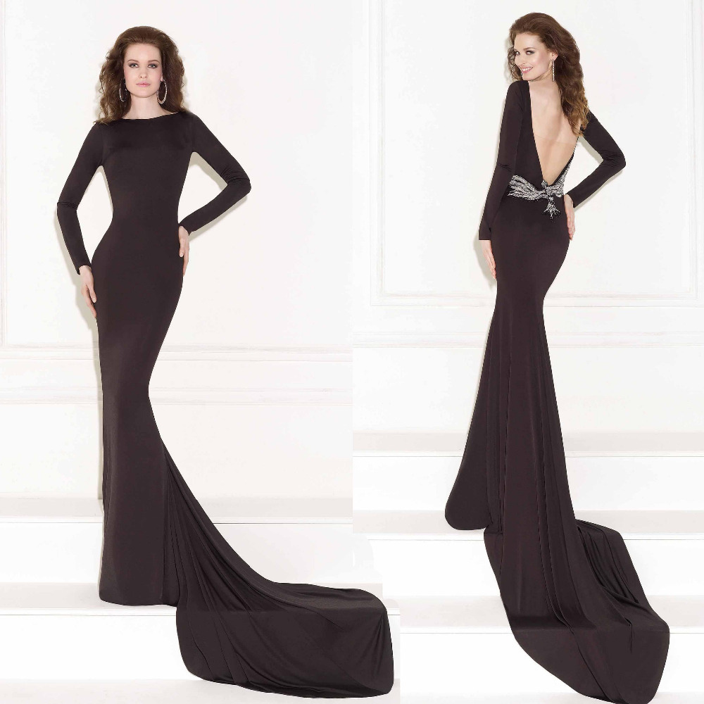 2015 New Long Sleeves Evening Dress High Neck Black Jersey Long Sleeves Beaded Crystals Backless Court Train Formal Prom Gowns
