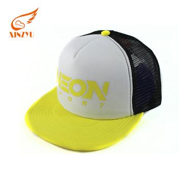 8294bc422332a Custom LOGO Flat brim Woven trucker hat with logo printed Mesh Trucker Hats