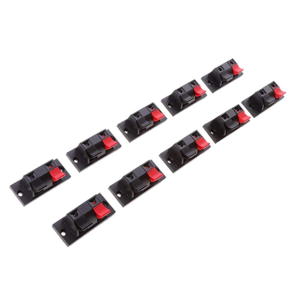 Jili Online Audio Speaker Amplifier 2 Way Terminal, 10 pieces Audio Amplifier Terminal Connection Terminal Connectors 2 Pin Speaker Terminal