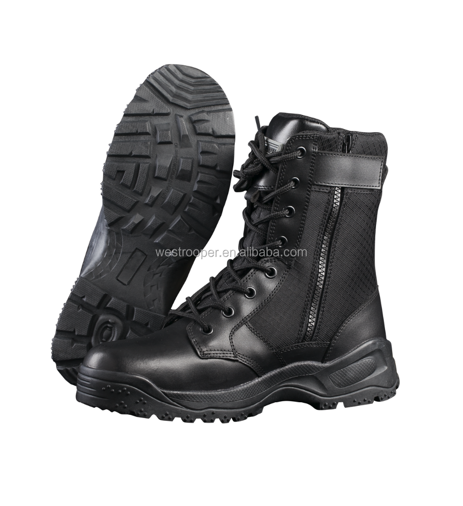 HIGH QUALITY BLACK LEATHER TACTICAL BOOTS