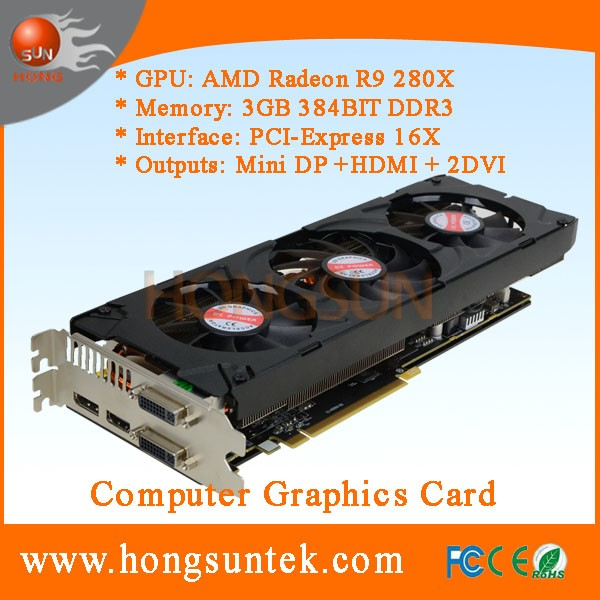 OEM AMD Radeon R9 280 X 3GB 384-bit GDDR5 PCI Express 3.0 HDCP Ready CrossFireX Support Video Card Great to Litecoin Dogecoin