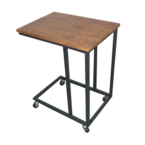 Rolling living room sofa side table metal frame mdf coffee table bed side table with casters