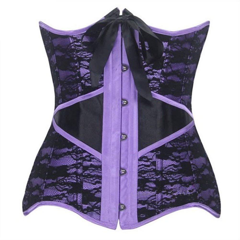 a09767b06 Get Quotations · Steel Bone Lace Overlay Corset Waist Training Underbust  Bustier