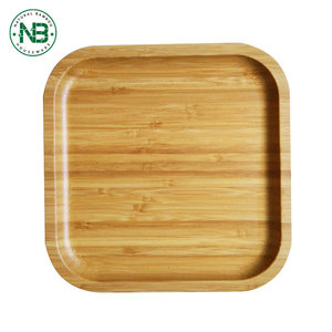 3 pcs squared bamboo breakfast food serving tray set