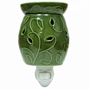 Green Pluggable Fragrance Warmer - Plug-In Ceramic Incense Holder & Electric Aroma Oil Burner Lamp Wax Melter