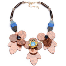 NL136 JN China jewelry wholesale Wooden flower cameo necklace wood resin necklace for women party jewelry