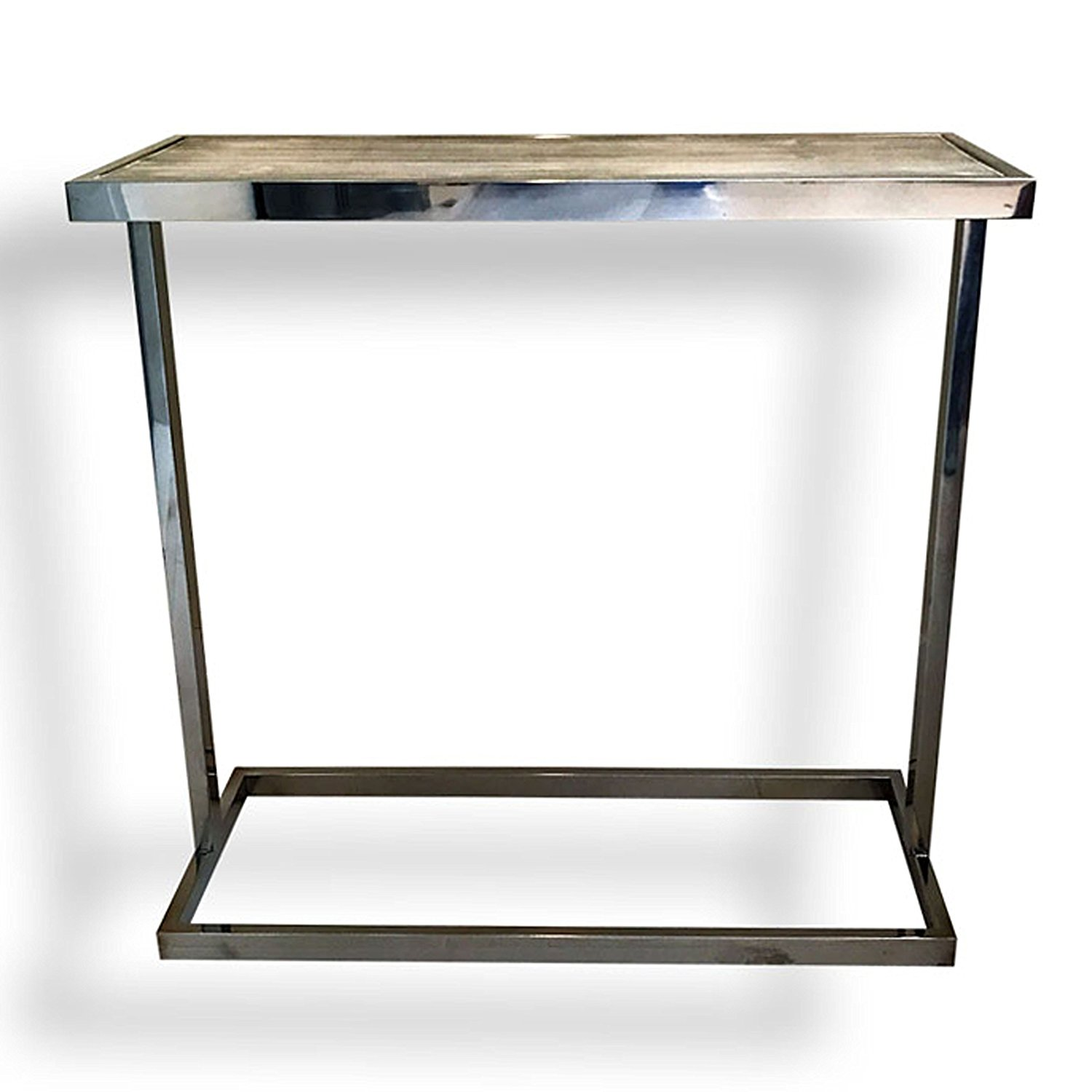 Whole House Worlds The Crosby Street Console Side Table, Polished Stainless Steel with Bleached Driftwood-Gray Pine Inset, 27 Inches Tall, By