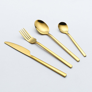 stainless steel wedding gold cutlery set pvd coating flatware set gold silverware