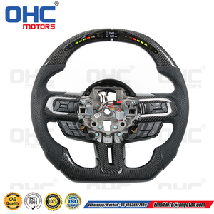 LED Carbon Fiber Steering Wheel Compatible with Mustang OHC MOTORS