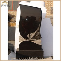 Modern Cheap Upright Headstone and Monument made of China Black Granite