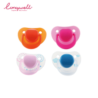 Ningbo Longwell Food grade PP baby soother pacifier bpa free infant custom logo color pacifiers soft silicone teat adult