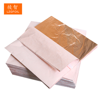 14 x 14 cm Chinese Genuine Red Copper Imitation Gold Foil Leaf Sheets for Decorating Furniture Art Crafts