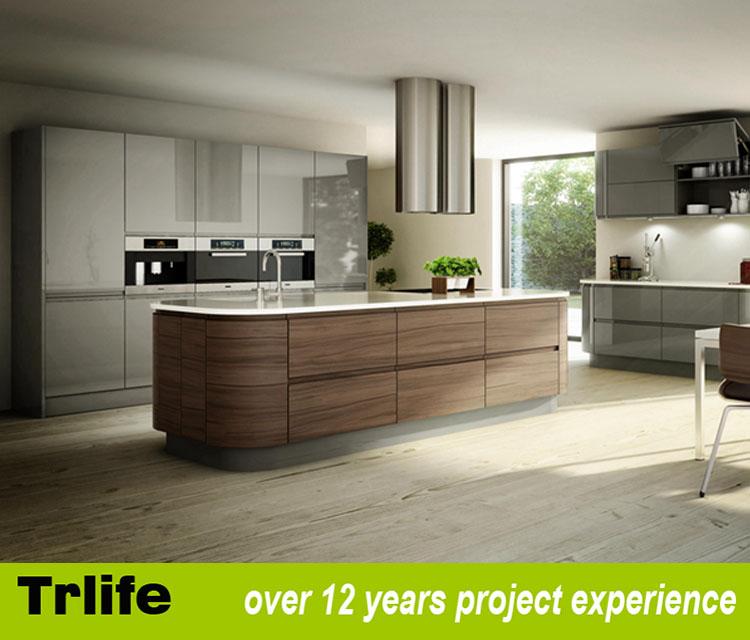 Latest Wooden Furniture Designs Round Corner Kitchen Cabinets Door With Pvc Membrane Cabinet