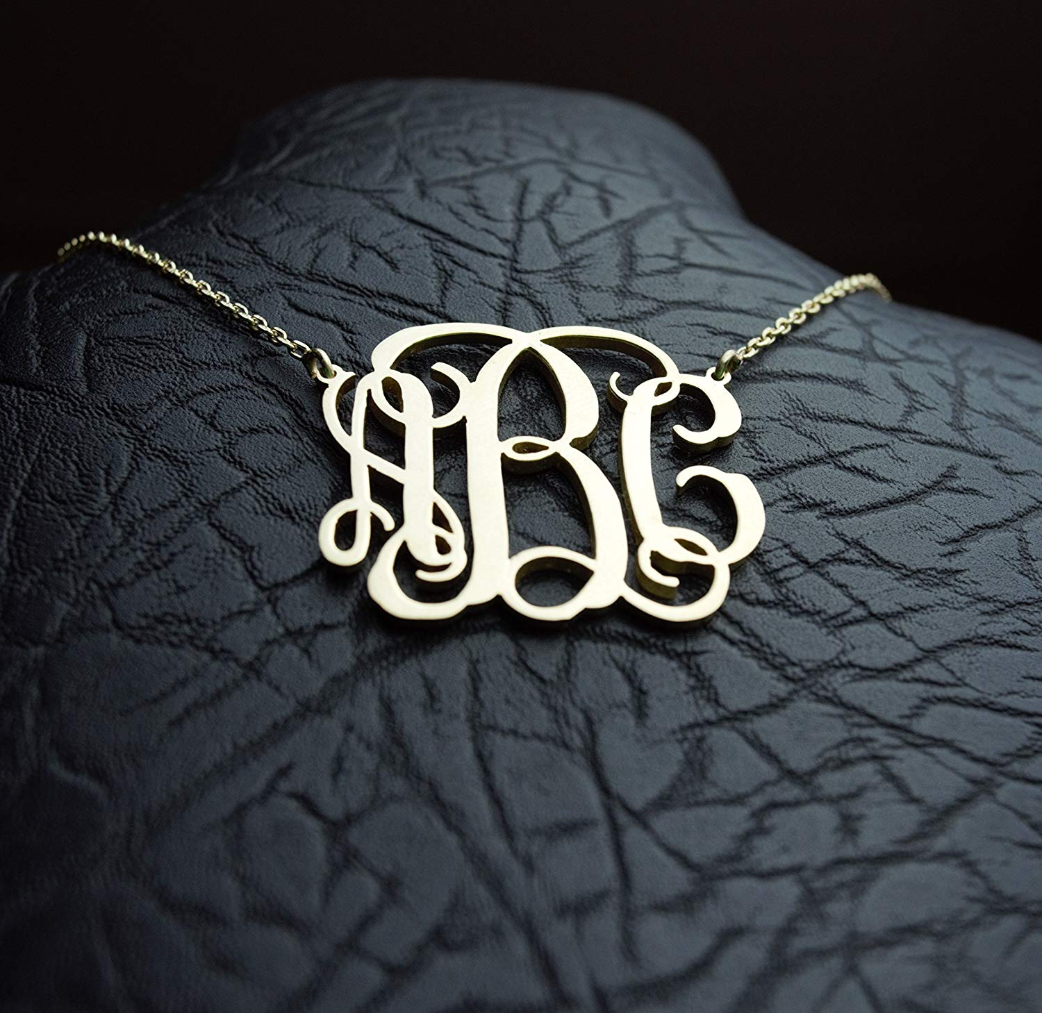 HANDMADE Personalized Block Monogram Necklace in Sterling Silver 0.925-Gold Picture