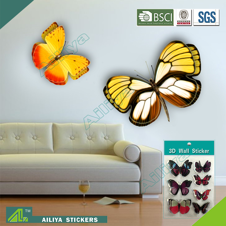 New products butterfly embossed 3d stickers for wall decration