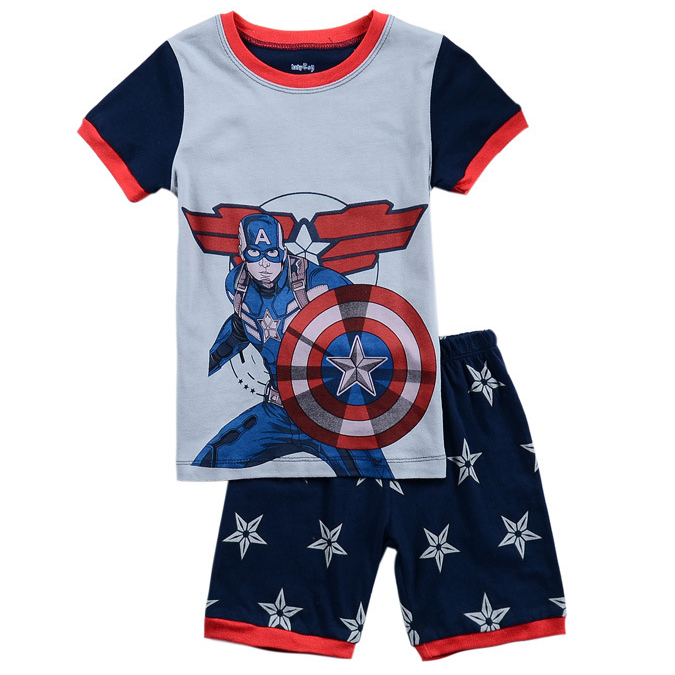 2015 summer style baby boys clothing set brand Captain America kids clothes children's sport suit cotton t shirt+shorts hot sale