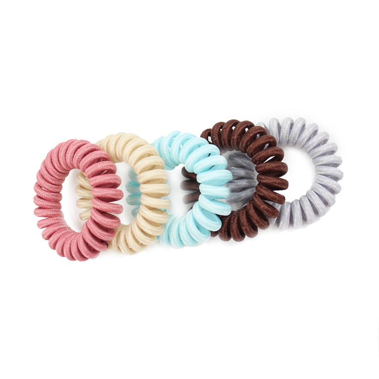 Translucent Stretchy Multicolor Bracelet Telephone Wire Ponytail Ring Plastic Telephone Wire Bands