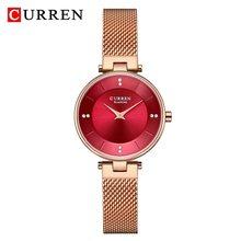 Женские кварцевые часы CURREN, модные часы из розового золота с сетчатым ремешком, минималистичные водонепроницаемые часы со стразами(Китай)