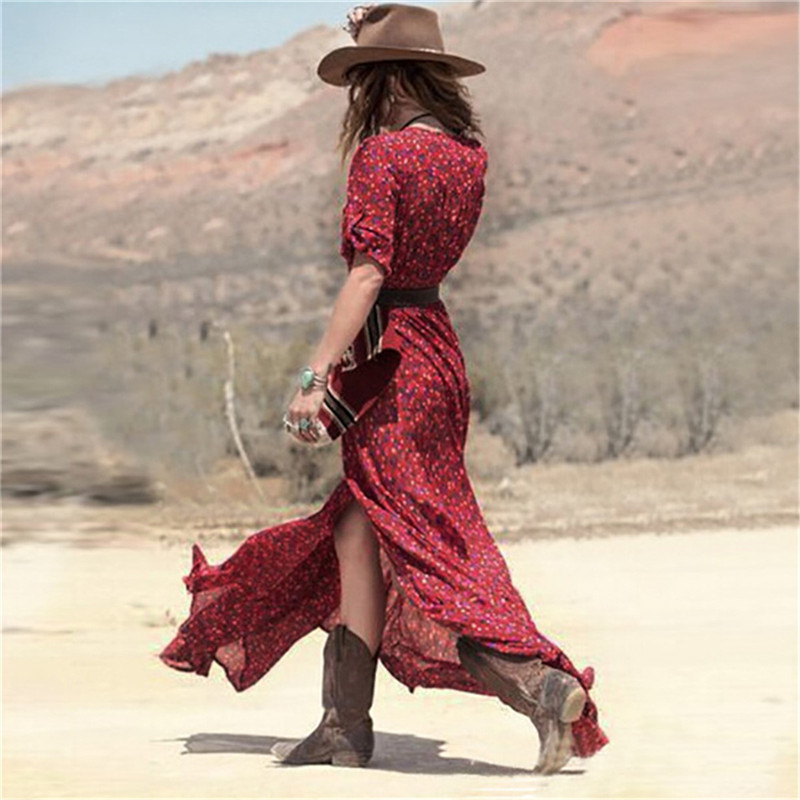 385c5a9ade 2019 Wholesale New 2016 Summer Sexy Women Boho V Neck Floral Print Split  Long Maxi Dress Casual Ladies 3 4 Sleeve Tunic Beach Dresses Vestido From  Peay