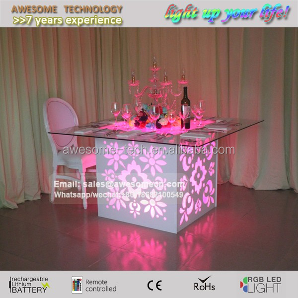 dinner table luxury / lux led wedding square table