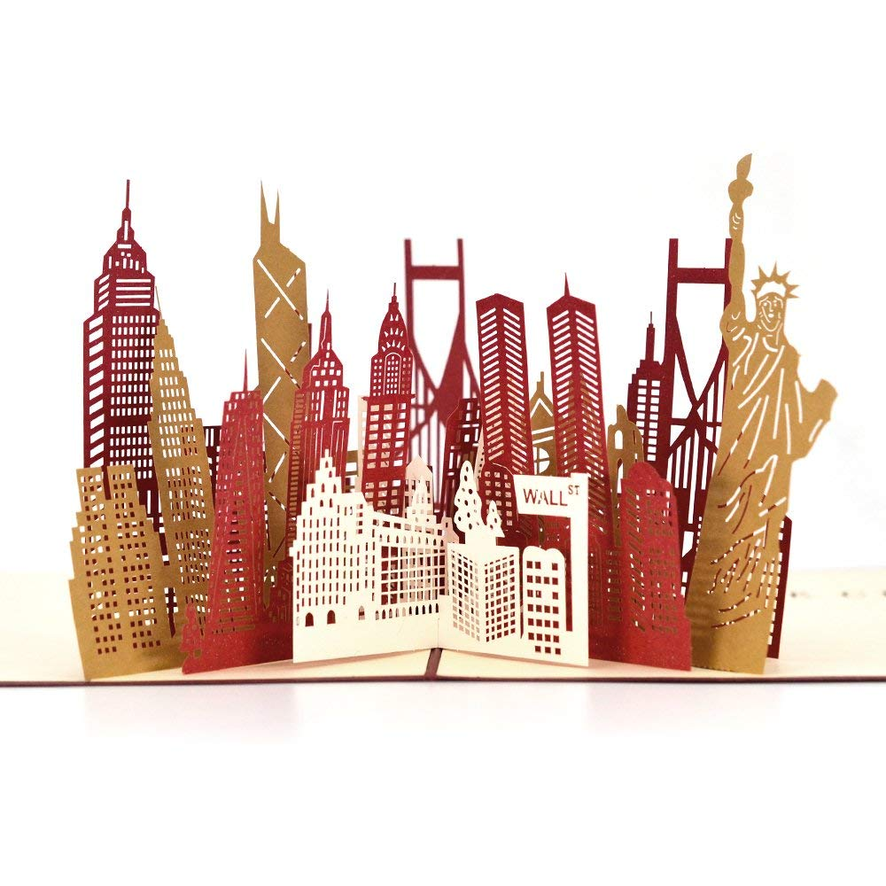 Get Quotations Pop Up Thank You Cards Breezypals 3D New York Silhouette Greeting With Envelopes