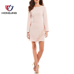 women wear Crepe fabric Asymmetrical Feather Trim Boat neck Long Sleeve Crepe Sheath back neck keyhole close cocktailwear dress