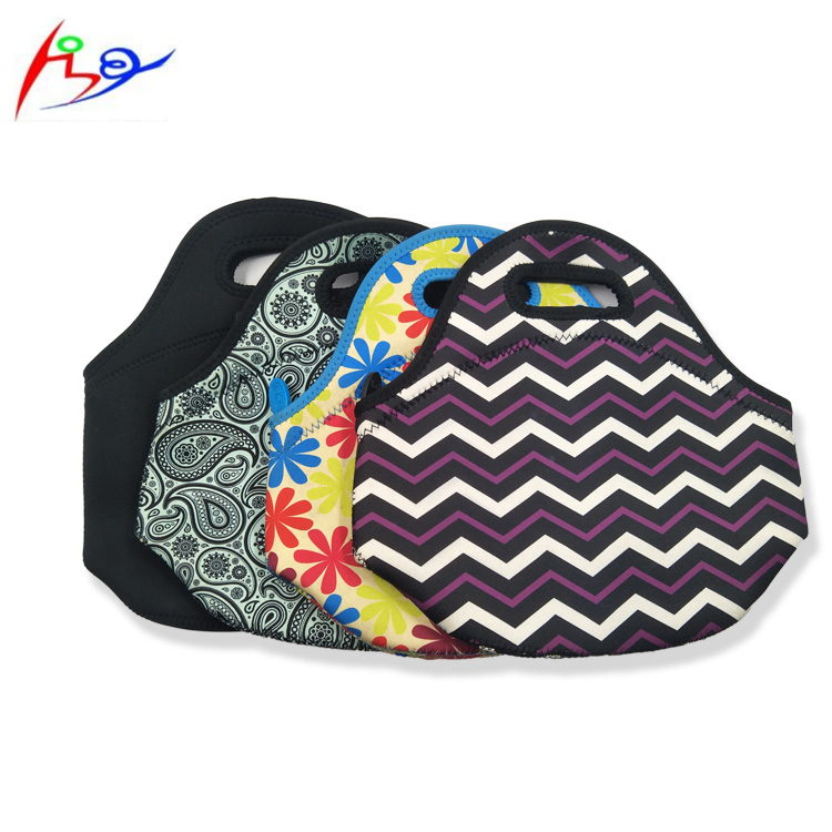 OEM design tote handbag ladies shopping pouch with handle customized neoprene kids lunch bag