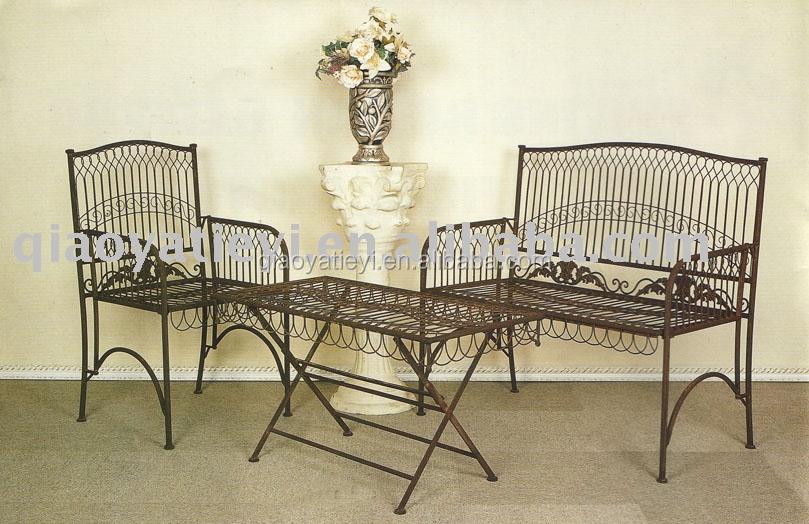 Muebles de hierro forjado conjuntos de jard n for Muebles de jardin de hierro