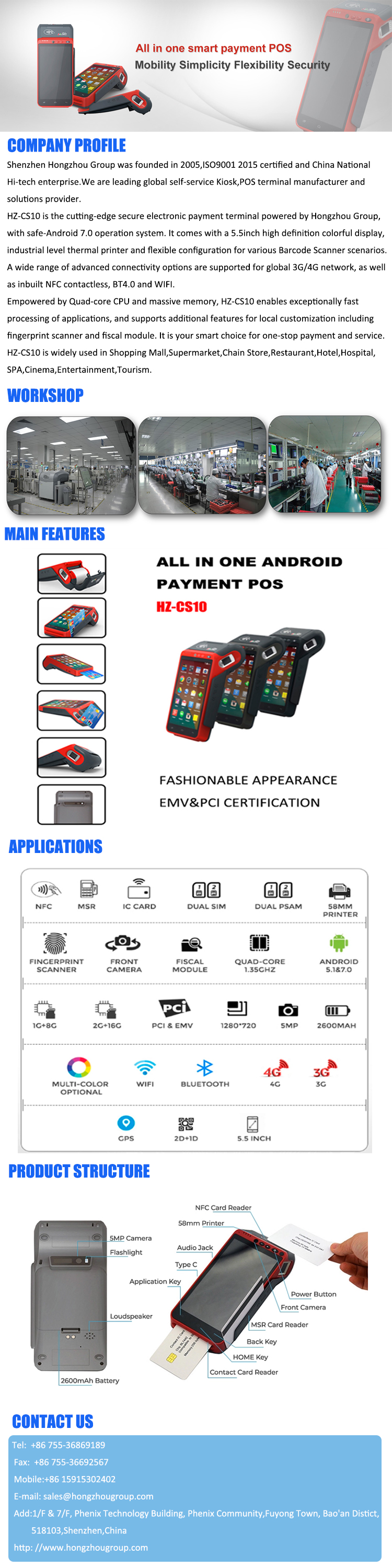 Touch Screen Smart Android POS Device with SDK provided