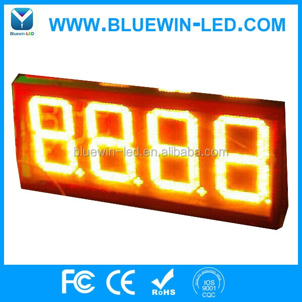 10inch 8.889 led gas station price with CE Outdoor large 7 segment big led numeric display for gas station price signs