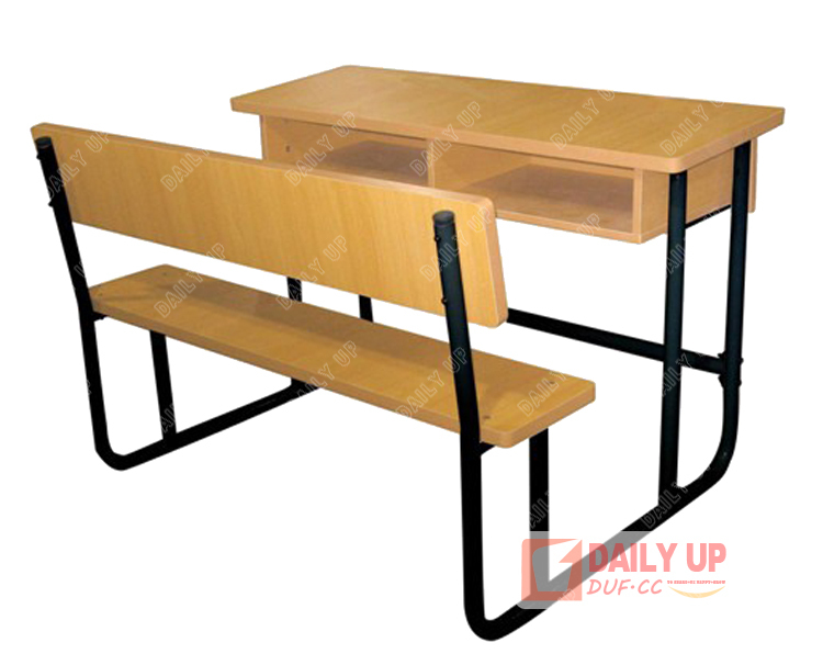 List Of Classroom Furnitures : Wood double school desk with bench primary